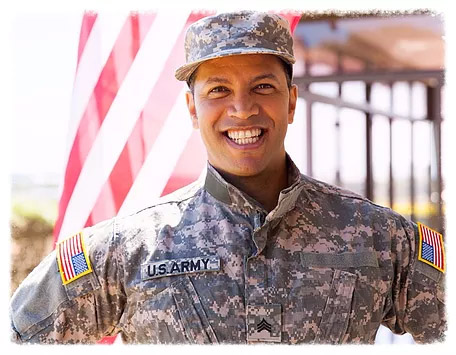 smiling US soldier